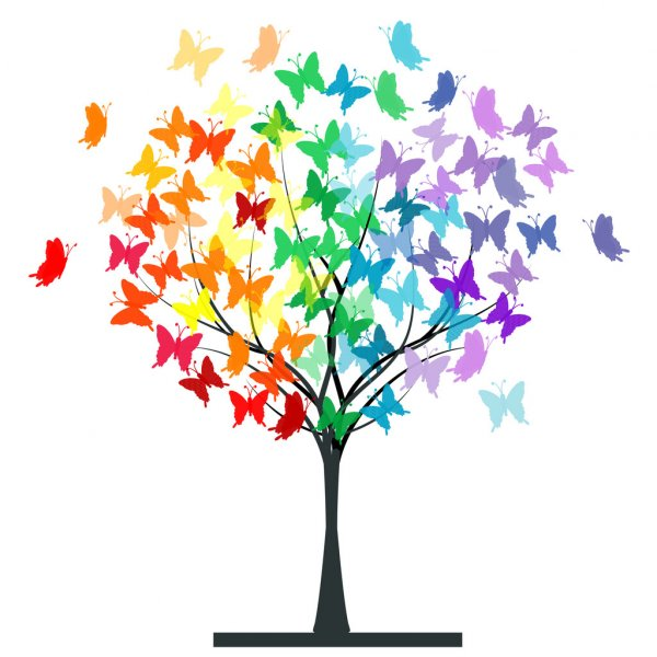 albero con farfalle